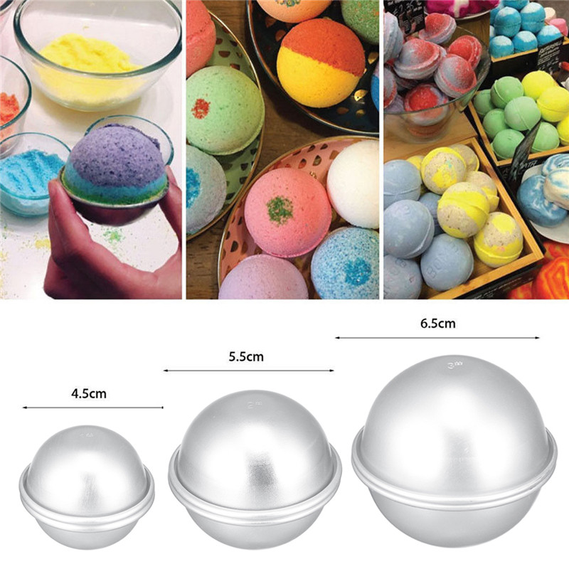 2PCS Round Aluminium Alloy Bath Bomb Molds DIY Tool Bath Bomb Salt Ball Homemade Crafting Gifts Semicircle Sphere Mold 2