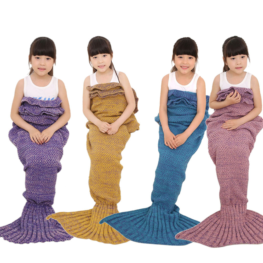 Happy Sale Knitted Mermaid Tail Blanket Handmade Crochet Children Throw Bed Wrap Sleeping Bag Sep928