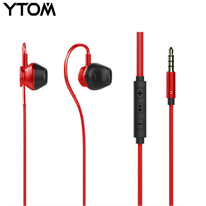 YTOM Metal Sport Earphone Eaburds with jack bass clear mic volume control Stereo headphones for apple iphone samsung xiaomi 5s 6