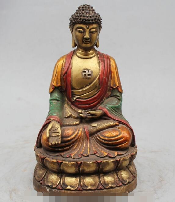S06519 9 Tibet Tibetan Buddhism Bronze Sakyamuni Shakyamuni Amitabha Buddha StatueS06519 9 Tibet Tibetan Buddhism Bronze Sakyamuni Shakyamuni Amitabha Buddha Statue