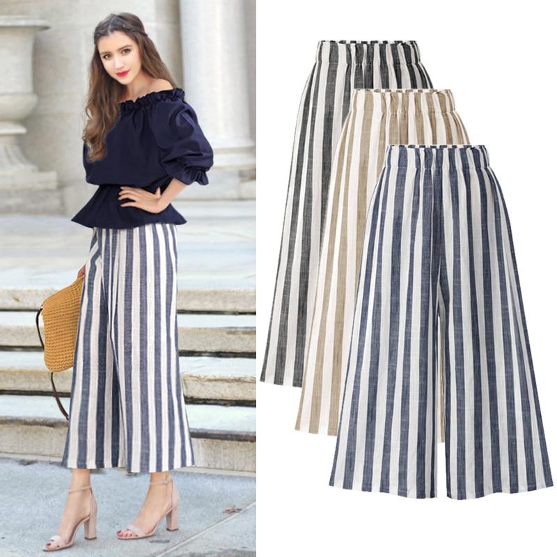 pants   for women High Waist Plus Size Ankle length Cotton and linen Casual Loose Elastic Waist Striped   Wide     Leg     Pants   5XL 6XL