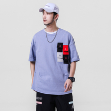 Trendy Male T-Shirt Embroidery Multi-Pocket Spliced Men's T-Shirts O-Neck Summer Man's Short-Sleeved T-Shirt