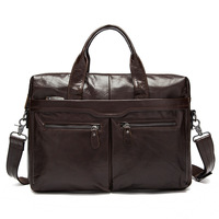 Manufacturers wholesale high quality men's handbag can hold 14 inch notebook computer soft leather business briefcases