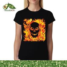 цена на Fire Skull Hell Flames Womens T-shirt S-3XLStreetwear Funny Print Clothing Hip-Tope Mans T-Shirt Tops Tees