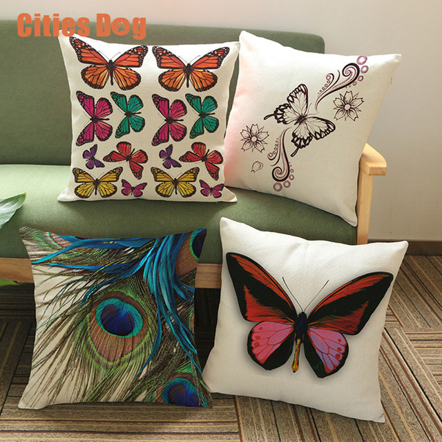 Butterfly Peacock Feathers Printing Cotton Linen Pillowcase Impressive How To Use Decorative Pillows