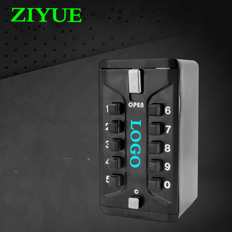 Free  Shipping  Metal Household Safe Combination Portable Wall-Mounted Key Storage Key Safe Box with 10-digit Combination Lock wall mount key storage lock key safe box 10 digit combination password
