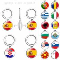 South Europe Country Flag Keychain Greece Albania Spain Italy Croatia Bulgaria Bulgarian Serbia Romania San Marino Portugal Flag