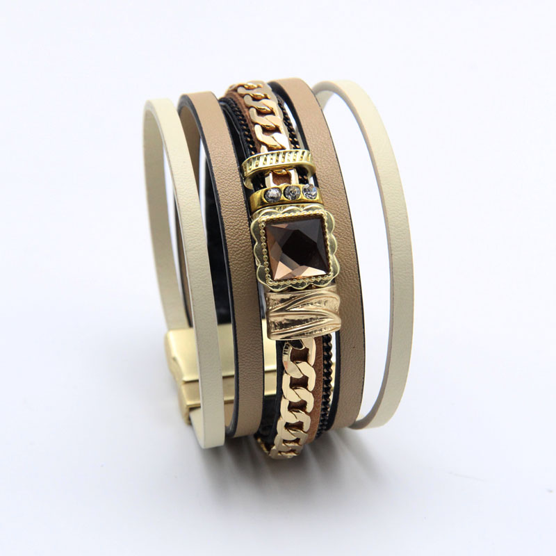 ZG Latest Genuine Leather Bracelet Man Women With Gold Color Chain Charms Magnetic Buckle Bracelet Jewelry
