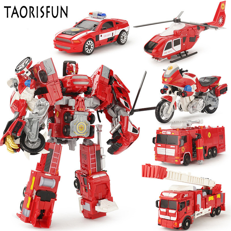 TAORISFUN Alloy And Plastic 2 In 1 Deformation Robot Car Vehicles Model Toys Children' Toys Fire Truck Transformation Robots abbyfrank 5 in 1 transformation car assembly action figure toys truck plastic engineering vehicles robot christmas toy for kids