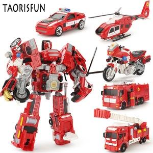 Image 1 - Taorisfun 합금 및 플라스틱 2 in 1 변형 로봇 자동차 차량 모델 완구 어린이 완구 소방차 변환 로봇