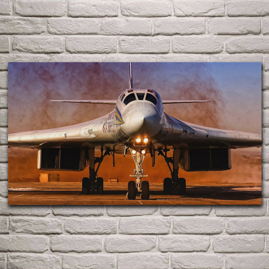 tu 160 blackjack bomber okb <font><b>tupolev</b></font> ww2 aircraft living room decoration home wall art decor wood frame fabric posters KH720 image