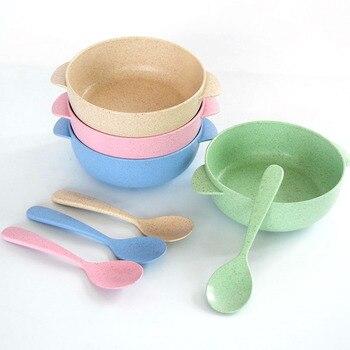 2 sztuk/zestaw do karmienia dziecka żywności zastawa stołowa Cartoon miska + łyżka do karmienia dzieci żywności ekologiczne dzieci szkolenia obiadowy