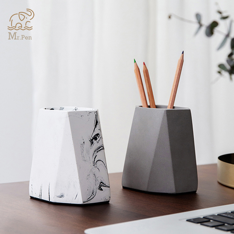 Nordic Style Cement Pen Holder Eyebrow Makeup Brushes Tools Cup Holder Case Office Desk Pen Holder Decoration Desk Accessories