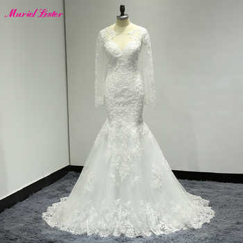 Sexy Illusion Mermaid Long Wedding Dress Plus Size Robe De Mariee 2019 Bridal Gown Long Sleeves Appliques Lace Wedding Dresses - DISCOUNT ITEM  30% OFF All Category