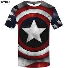 KYKU Captain America T Shirt Men Shield T-shirt Anime Clothes Usa Star 3d Print Hip Hop Mens Clothing Streetwear Top New