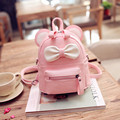 LEFTSIDE  Pink Black Cute Bow Kids Backpack PU Leather School Backpacks Teenage Girl Fashionable Back Packs Women Small Bag Pack