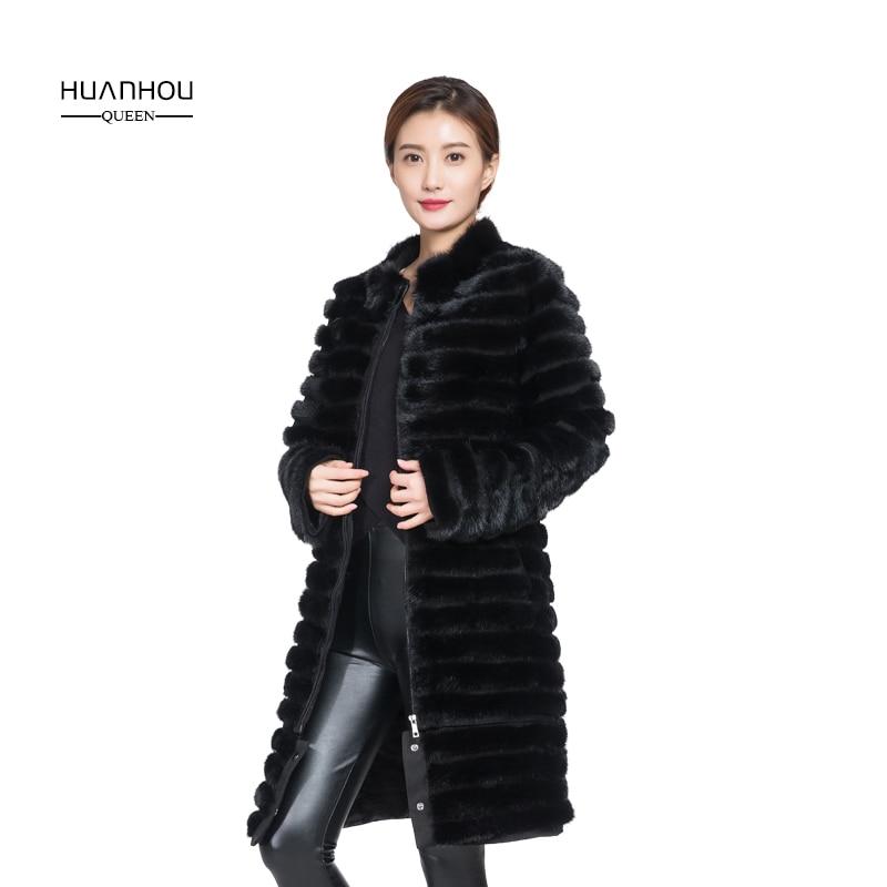 HOUAN HOU UQEEN fourrure de vison manteau femmes style long stand col extra large, plus la taille manteau de fourrure véritable