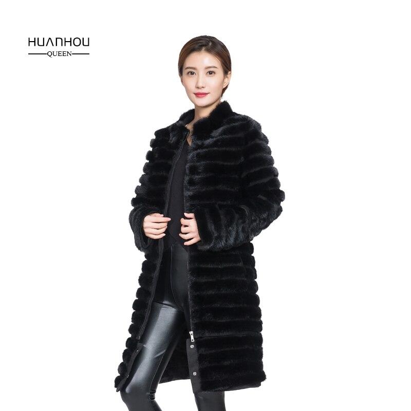 HOUAN HOU UQEEN pelliccia di visone cappotto lungo delle donne di stile del collare del basamento extra large plus size cappotto di pelliccia reale