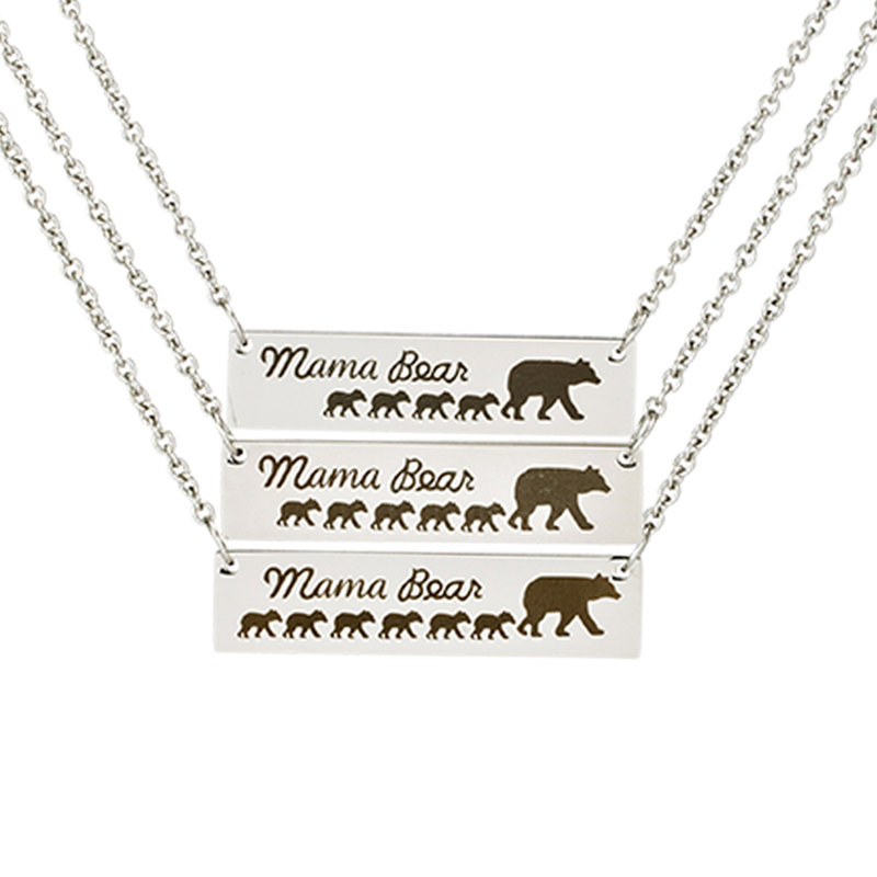 Mama Bear Tag Engraved Animal Pendant Necklace Mother Kids L
