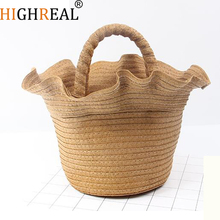 HIGHREAL Straw Bag Beach Bags Women Bucket Totes Handbags Casual Summer Bag 2018 New Yellow Black Color