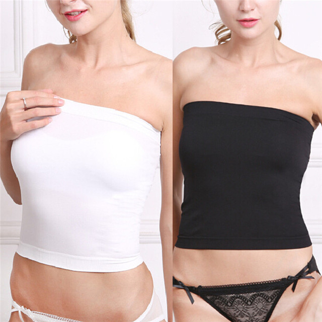 1c36ef5f64 Black White Women s Prevent Exposed Seamless Wrapped Chest Bustier  Comfortable Strapless Underwear Women Tube Tops