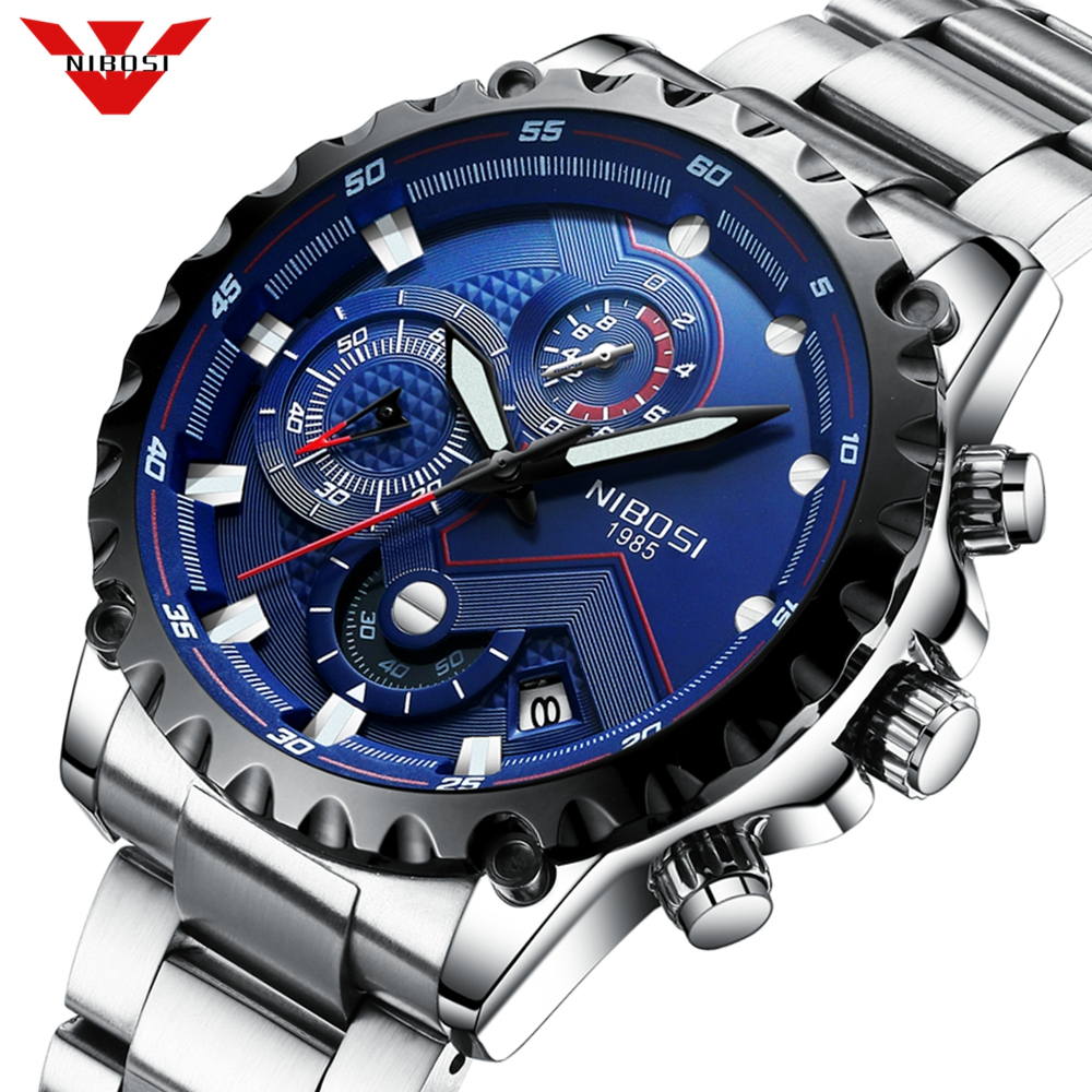 NIBOSI Men Watch Large Face Dial Sports Watches Men's Fashion Army Watch Men Military Clock Quartz Wristwatch Relogio Masculino