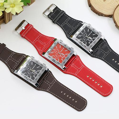 Women Elegant Square Dial Wide Faux Leather Band Fashion Quartz Wrist Watch все цены