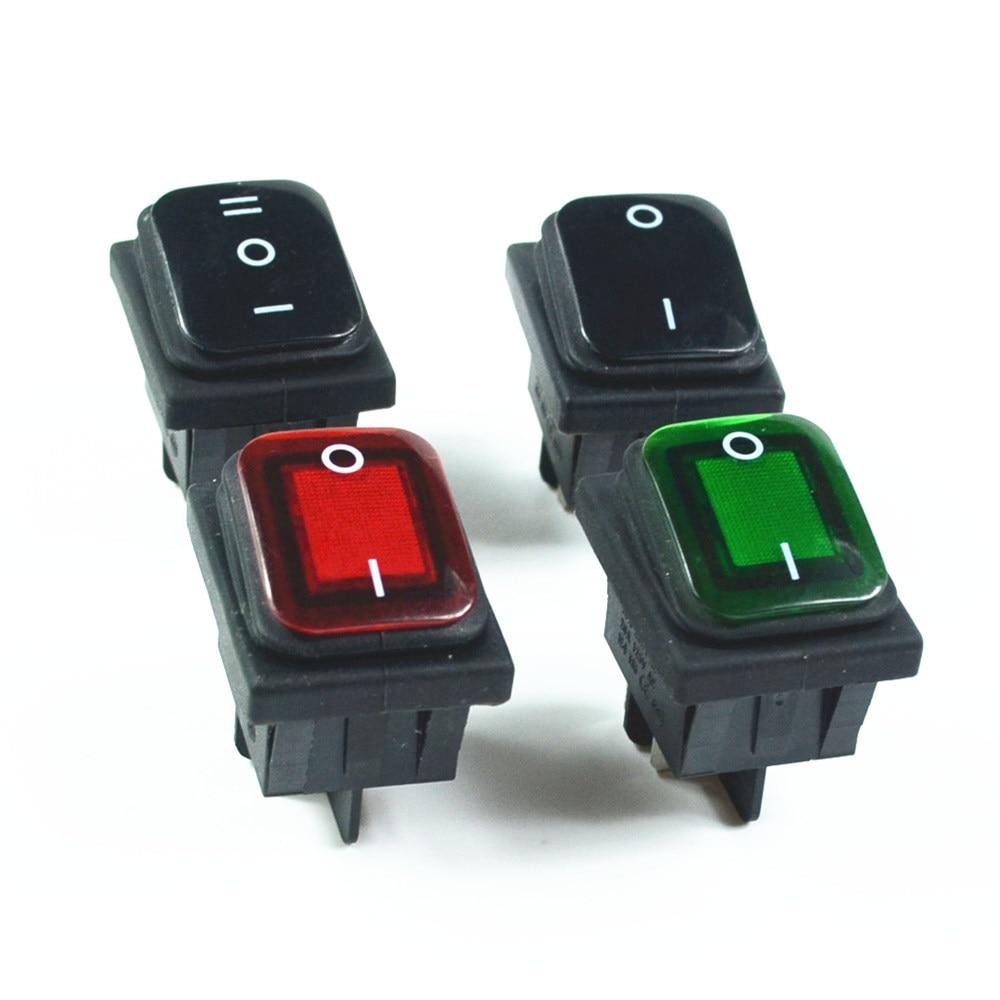 Водонепроницаемая фиксация рокера тугл-переключатель, красный, зеленый, черный, 4Pin 2 положения, 6Pin 3 положения AC250V/16A ac125 V/20A