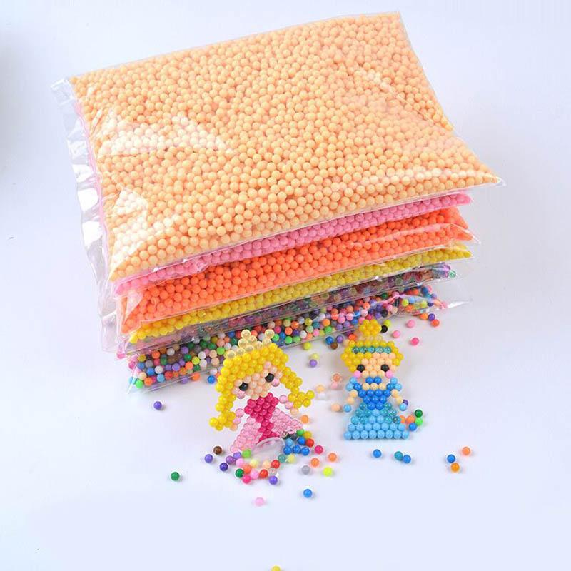 6000pcs 39 Colors 0.5kg Magic Aqua Beads 5mm Tangram Jigsaw 3D Puzzle Aquabeads Perlen Kids Educational Puzzle Toys Hama Beads стоимость