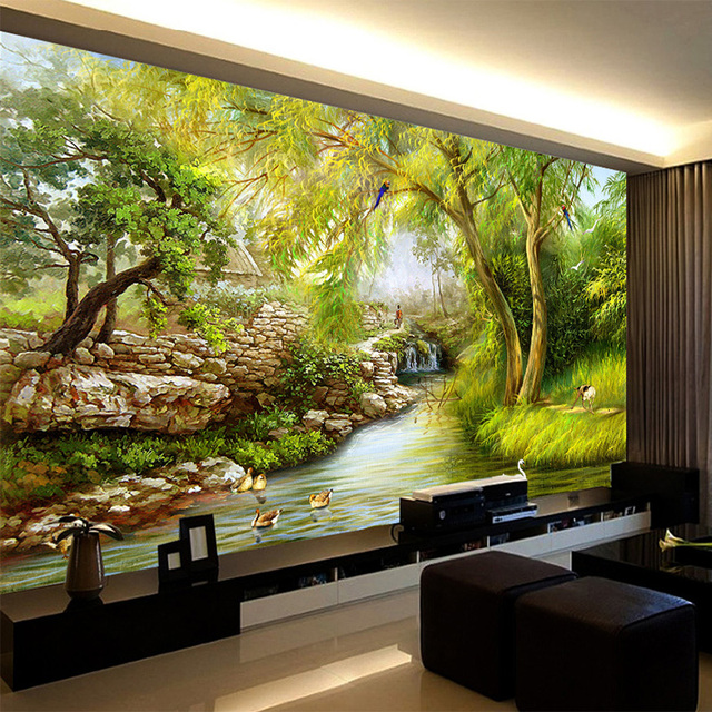 3D Wallpaper Chinese Style Riverside Scenery Oil Painting Mural ...