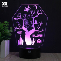 Halloween The Tree At Night 3D Lamp LED Remote Control Night Light USB Decorative Table Lamp