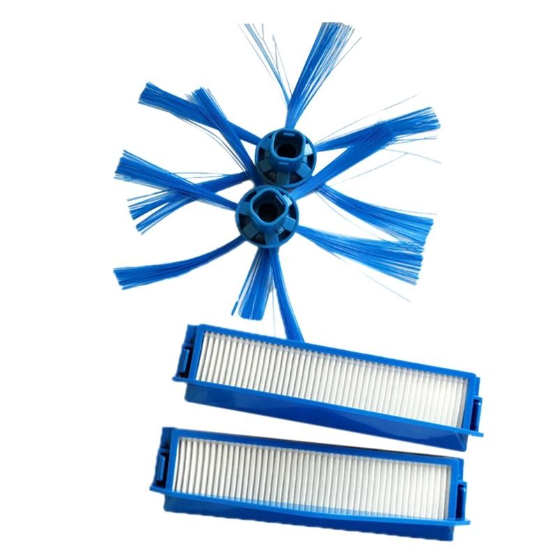 Venda superior 2 pçs filtro hepa + 2 kit escova lateral para philips fc8007 fc8792 fc8794 fc8796 aspirador de pó peças reposição hepa
