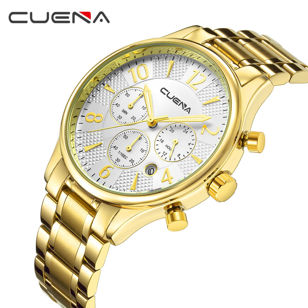все цены на CUENA Top Brand Luxury Gold Watch Men Watch Fashion Full Steel Men's Watch Waterproof Watches Clock kol saati relogio masculino онлайн