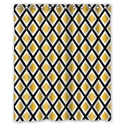 €14.0 24% de réduction|Mémoire maison personnalisée salle de bain Simple  Plaid Style jaune noir blanc rideau de douche Polyester imperméable tissu  ...