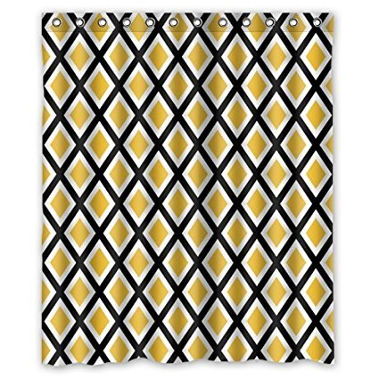 Memory Home Personalized Bathroom Simple Plaid Style Yellow Black White Shower Curtain Polyester Waterproof Fabric Bath Curtains In From