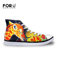 FOURDESIGNS Men Shoes High Top Canvas Shoes 3D Animal Colorful Printing Summer Comfortable Sport Men Casual