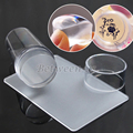 Nuevo Diseño Puro Transparente de Silicona Jelly Nail Art Stamping Stamper Stamper Scraper Set Con Tapa de Belleza Del Clavo de DIY Decoraciones
