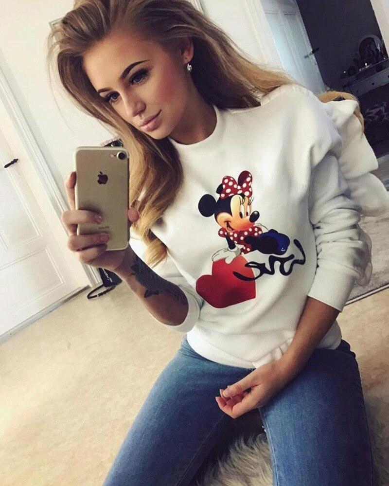 polerones mujer sweatshirt long sleeve hoodie ruffles round neck cute cartoon print minnie mickey mous women miki deer W100226 benfica camisola 2020