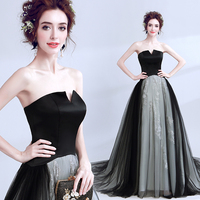 New Arrival Vintage Small V Neck Strapless Flowers Black Celebrity Dress Evening Dress 68