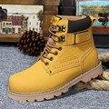 Los Hombres de Cuero genuino Botas 2017 Lace Up Solid Otoño Invierno Ocio Martin Botas Hombres Tobillo Corto Cilindro Al Aire Libre Zapatos de Los Hombres