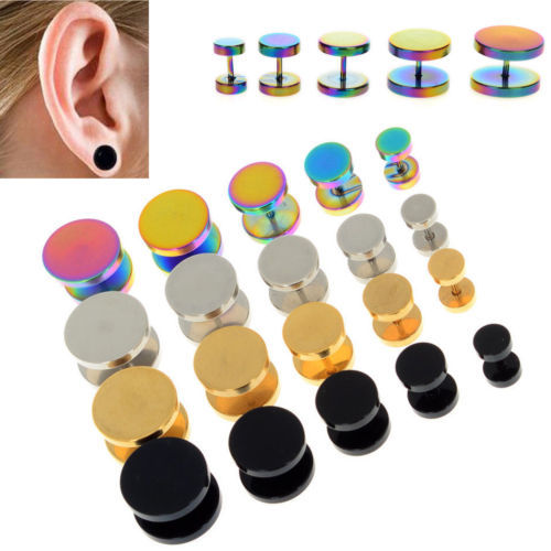 2Pcs Gold Black Stainless Steel Cheater Faux Fake Ear Plugs Flesh Tunnel Gauges Tapers Stretcher Earring 6-14mm image