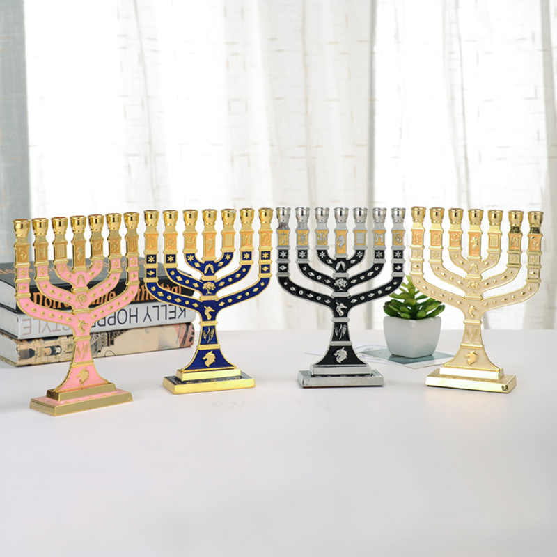 Blue Enamel Menorah Gold Plated 7 Branch Tribes Of Israel Jerusalem