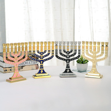 Blue Enamel Menorah Gold Plated 7 Branch Tribes Of Israel Jerusalem