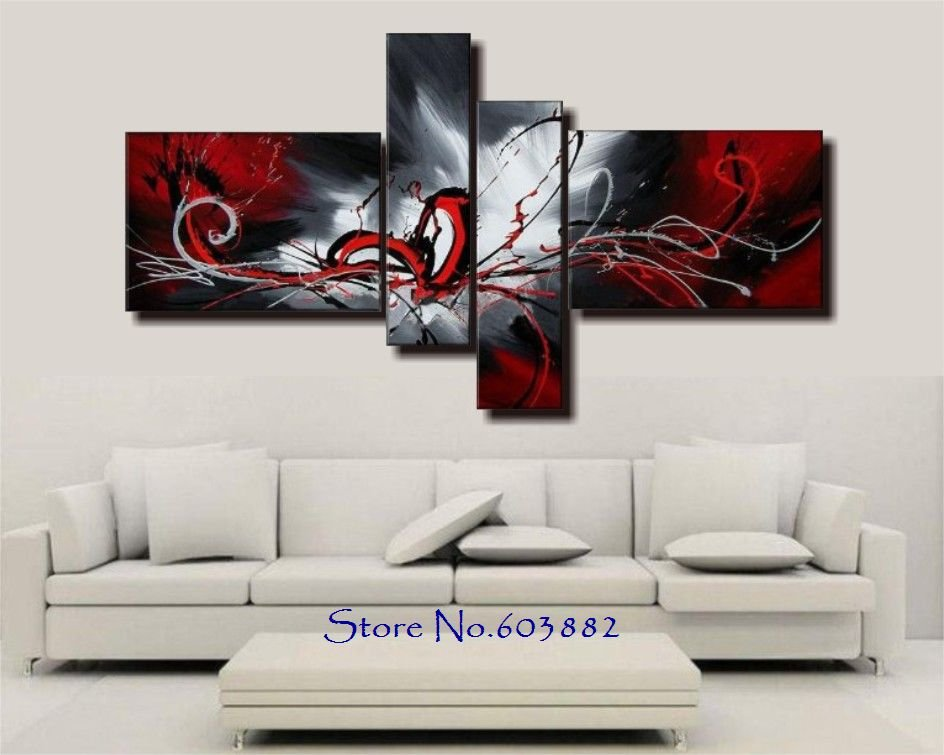 100 hand painted 4 panels wall art canvas abstract painting red white black color home decor high quality in painting calligraphy from home garden on