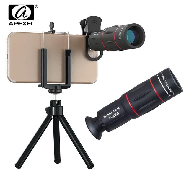 APEXEL HD אופטי אוניברסלי 18x25 המשקפת למצלמות עדשת 18X טלה טלפון עדשה עם חצובה עבור Smartphone xiaomi Redmi