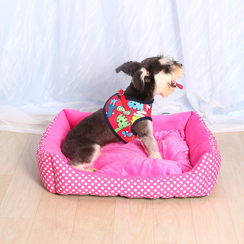 High Quality Pet all seasons Dog Bed House Soft Comfortable Kennel Cute Pink Dots Pet Dog Cat Warm Bed S/M/L