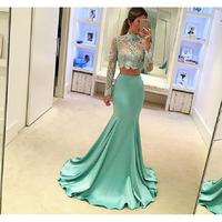 Mint Green Two Piece Prom Dresses Mermaid 2019 Vestido Formatura Sheer Applique Lace Long Sleeve Imported Party Dress