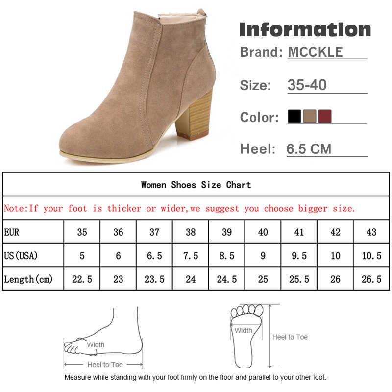MCCKLE Clog/ботильоны на толстом каблуке Женская Повседневная Осенняя обувь больших размеров флоковые короткие ботинки на молнии Женская обувь на высоком каблуке
