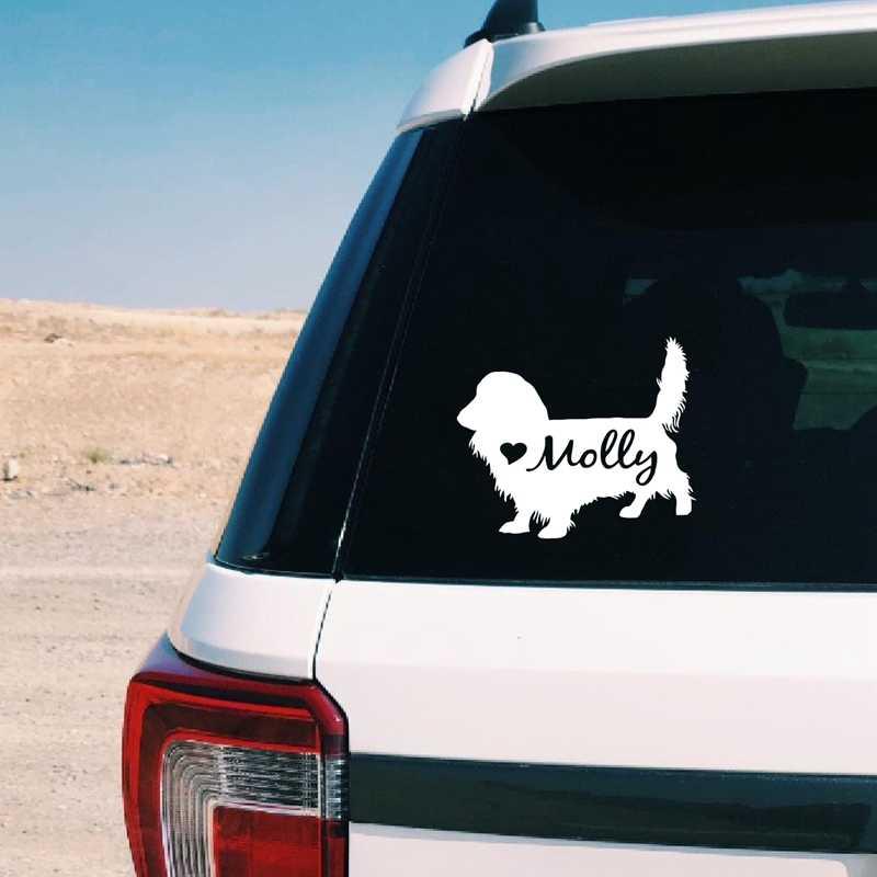 Длинношерстная такса силуэт виниловая наклейка стикер собака художественный декор, персонализированные имя питомца наклейка с таксой для ноутбука Настенный декор