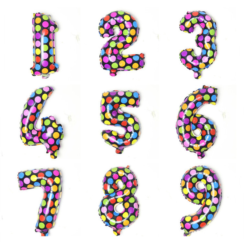 16inch 0-9 Number Dot Print Foil Balloons for Wedding Birthday Decoration Party Supplies 10/20/30/40/50/60/70/80/90/100/2018 image